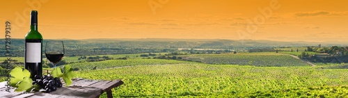 panoramiczny widok na piękny krajobraz winnic o zachodzie słońca z butelką i kieliszek wina na pierwszym planie