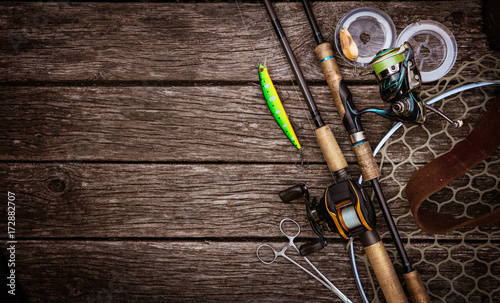 Printed kitchen splashbacks Fishing Fishing tackle background.