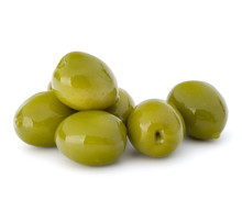 Green Olives Fruits Isolated O...