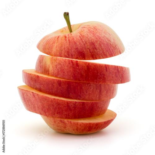 Fototapeta Red sliced apple isolated on white background cutout obraz