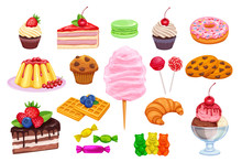 Vector Set Confectionery And Sweets Icons.