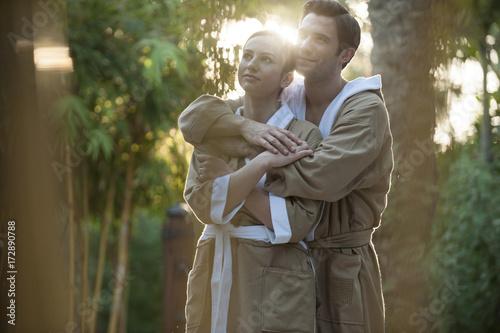 Couple in bathrobes in Dubai, United Arab Emirates