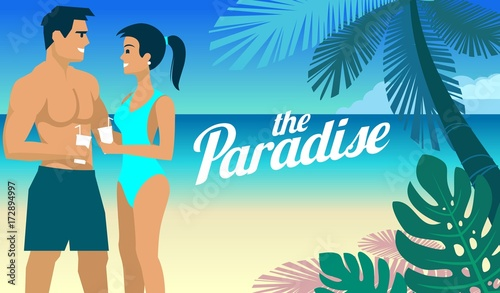 Beach & Palm trees couple Man and woman relaxing and drinking a cocktail on the heavenly shores of the azure sea or ocean in the resort vector design illustration © hirexdesign