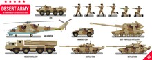 War Army Military Vehicles Set With Tank, Rocket Artillery, Helicopter, Troopers Soldiers, Armored Car, Armored Carrier, In Desert Camouflage Flat Design In Cool Vector Collection