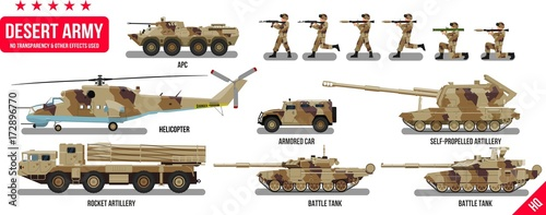 Fotografía  War Army military vehicles set with tank, rocket artillery, helicopter, troopers