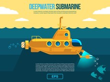 Submarine Under Water Vector F...