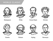 Famous World Writers, Vector P...