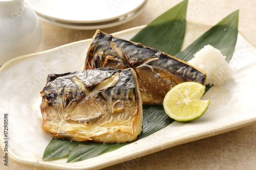 Fototapeta 鯖の塩焼き Grilled mackerel with salt obraz