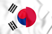 3D Flag Of Japan And South Korea