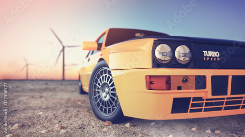Photo Stands Motor sports Sports car 3d render.