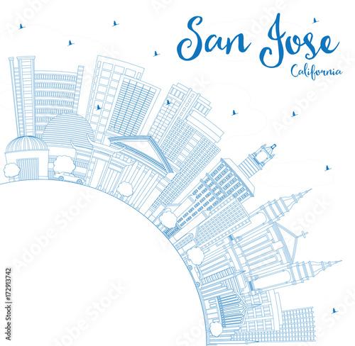 Staande foto Schilderingen Outline San Jose California Skyline with Blue Buildings and Copy Space.