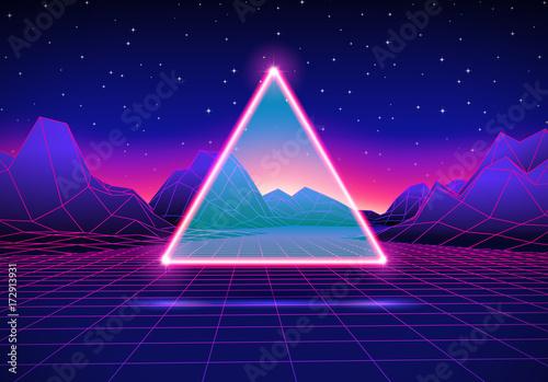 Fotografia  Retro futuristic landscape with triangle and shiny grid