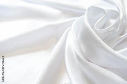 Fotografie, Obraz  White shiny silk folded with soft folds