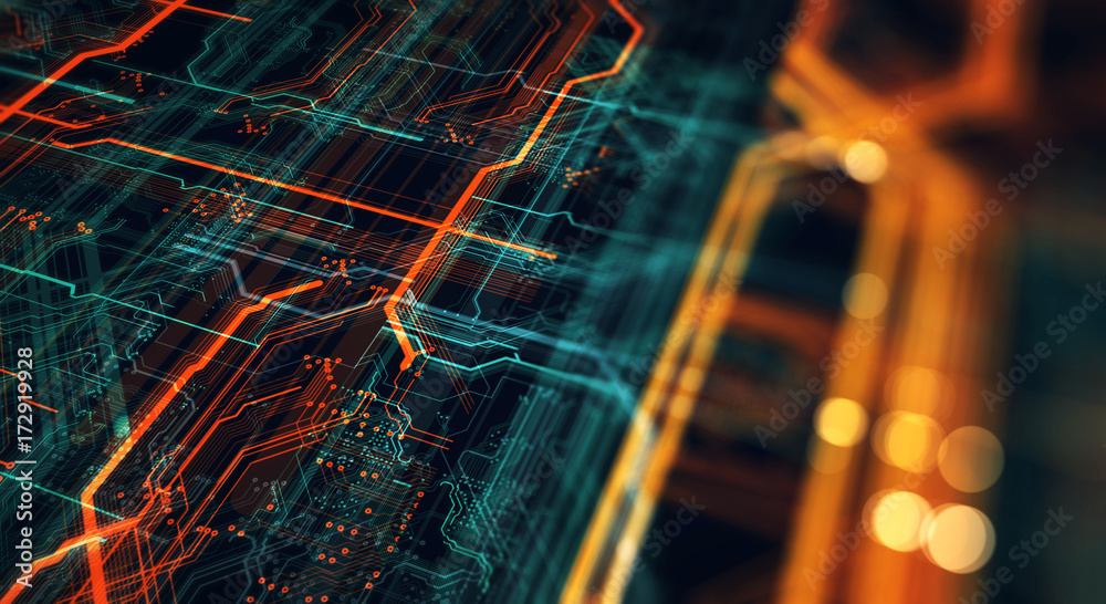 Fototapeta Printed circuit board in the server  executes the data/Abstract technological background made of different element printed circuit board and flares. Depth of field effect. 3d Render