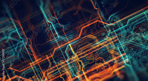 Printed circuit board in the server executes the data/Abstract technological background made of different element printed circuit board and flares. Depth of field effect. 3d Render