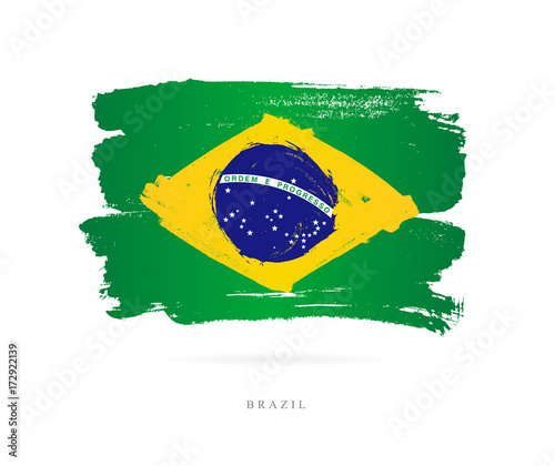 Flag of Brazil. Abstract concept Fotobehang