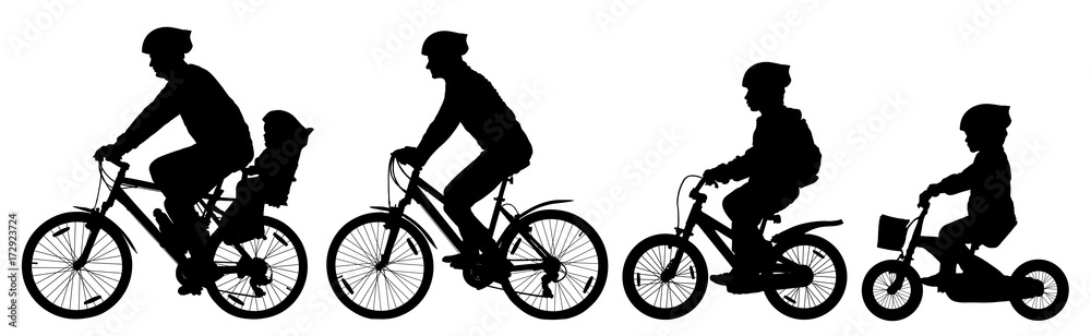 Fototapeta Man woman and children boy and girl on a bicycle riding on a bike, cyclist set, silhouette vector