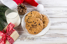Glass Of Milk And Cookies With...
