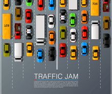 Road Cars Transport, Traffic Jam Background. Vector Illustration