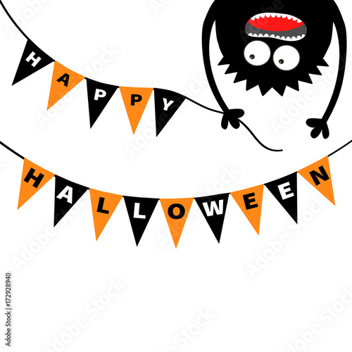 Screaming Monster Head Silhouette Bunting Flags Pack Happy