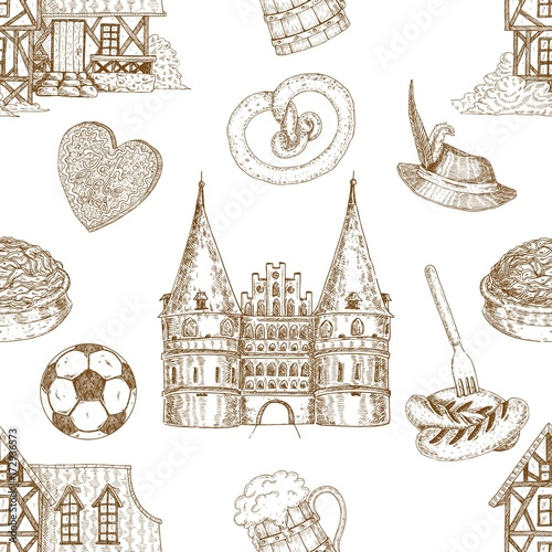 Poster Doodle Germany Drawn Seamless Pattern
