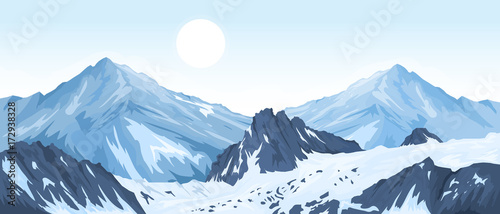 Photo sur Aluminium Bleu clair Panorama of mountain peaks