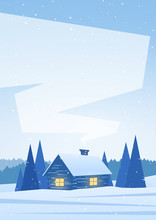 Vector Illustration: Winter Snowy Vertical Landscape With House In Forest And Space For Text.