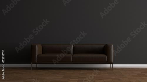 Fototapety, obrazy: Ledersofa vor dunkelgrauer Wand auf Holzboden