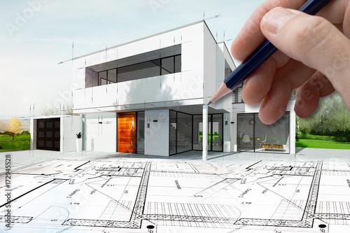 Fotografia, Obraz  Dessin d'une maison d'architecte avec plan