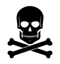 Scull And Bones Black On White