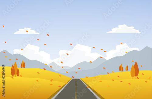Carta da parati Vector illustration: Autumn hillside landscape with road and leaves fall