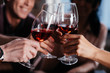 canvas print picture - friends drinking red wine