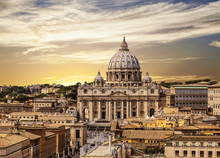 View From Above Of The Vatican And St. Peter's Cathedral At Sunset