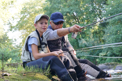 Foto op Aluminium Voetbal Father and son having a peaceful time fishing together