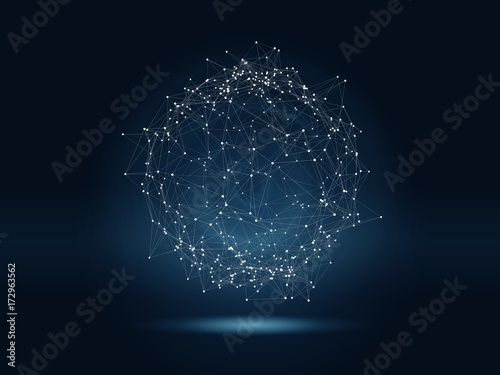 Fotografía  Futuristic hight technology background with connected glowing dots and lines