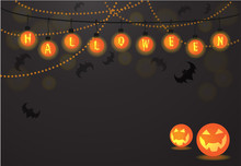 Halloween Light Balls Background Text Letters Vector For Halloween Card Party, Halloween Night, Trick Or Treat, Invitation Card, Gift Tags, Bat, And Jack-o-Lantern -orange, Yellow Glow Neon Colors.