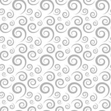 Seamless Vector Pattern With Decorative Gray Swirls