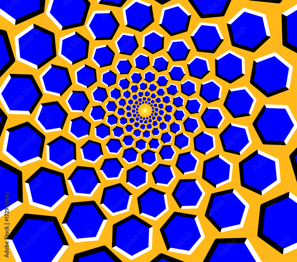 Fototapeta Optical illusion - blue hexagons moving on a yellow background