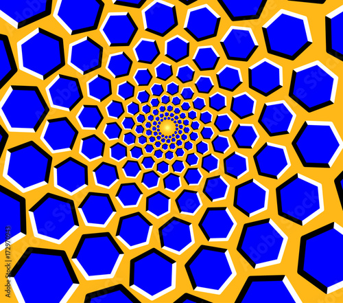 Fotomural Optical illusion - blue hexagons moving on a yellow background