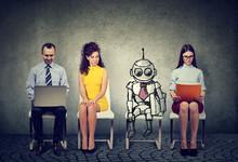 Cartoon Robot Sitting In Line ...