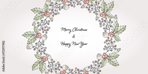 Fotografie, Obraz Hand drawn wreath with watercolor elements and christmas greetings