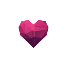 Stylish Low Poly Pink Heart Logo Design Isolated On White Background