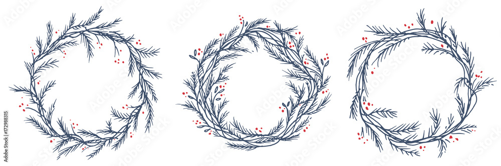 Christmas Wreath Silhouette Vector.Photo Art Print Vector Set Of Silhouette Of Christmas