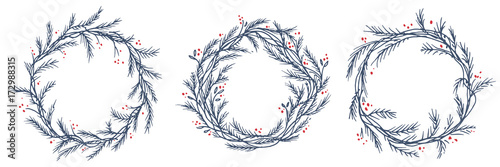 Photo  Vector set of silhouette of christmas wreath