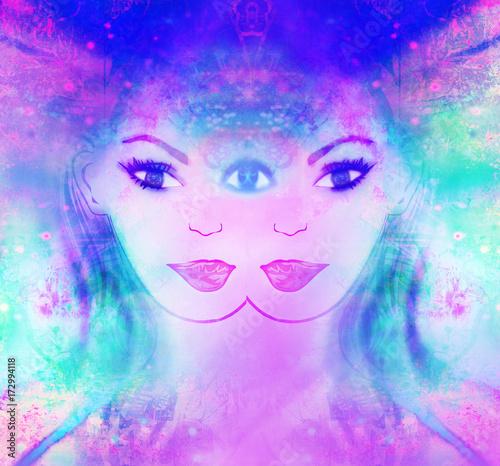 Aluminium Prints Painterly Inspiration Woman with third eye, psychic supernatural senses