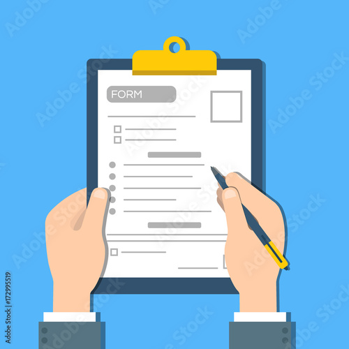 Man fills the form of document. Human hands hold the clipbord with form. Top view Vector - fototapety na wymiar