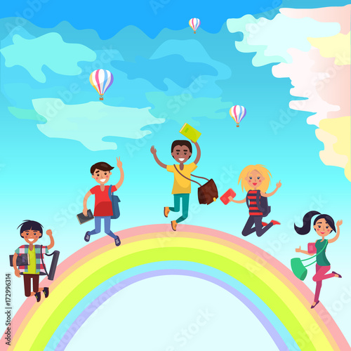 Keuken foto achterwand Regenboog Happy Jumping Students on Rainbow Illustration