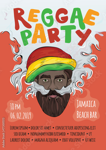 Photo  Template of advertising poster for reggae music concert or party