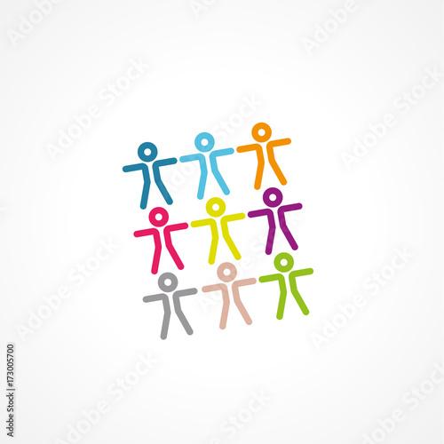 Stampa su Tela groupe gens,silhouettes colorées