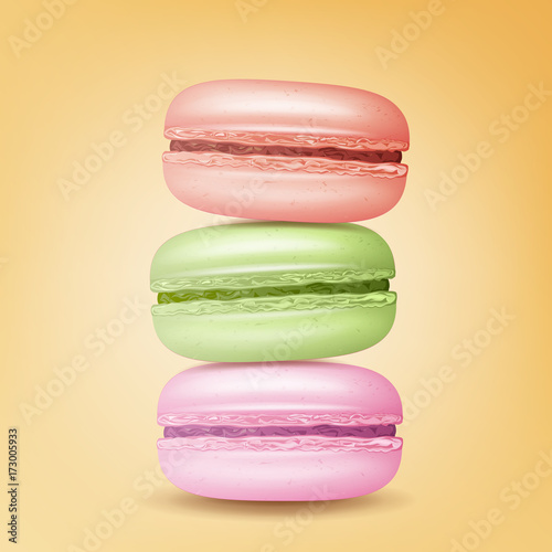 Photographie  Realistic Macarons Vector